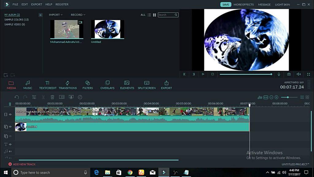 Filmora editing