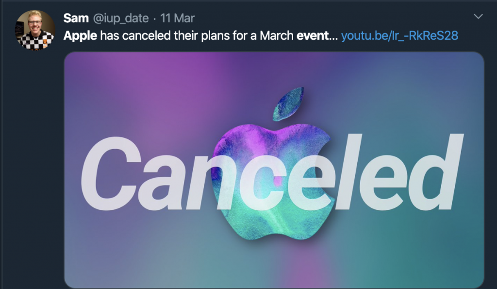 Apple event cancelled