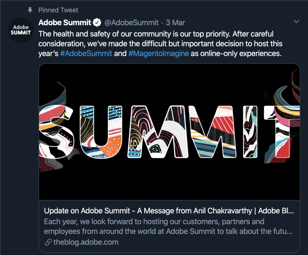 Adobe summit postponed remote working