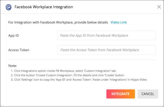 hippo video FB workplace integration
